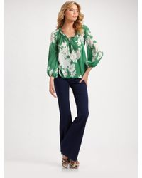 Alice + Olivia - Green Floral-print Top - Lyst