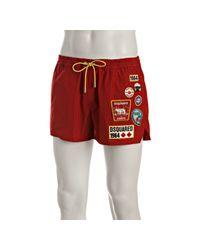DSquared² | Red Poly Logo Appliqué Swim Trunks for Men | Lyst