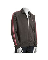 Fred Perry | Gray Slate Striped Sleeve Cotton Track Jacket for Men | Lyst