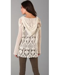 Free People | White Pacifica Crochet Hooded Sweater | Lyst