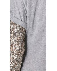 Gryphon | Gray Sequin Sleeve Slouchy Top | Lyst