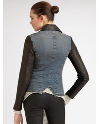 Helmut Lang - Black Leather & Denim Combo Jacket - Lyst