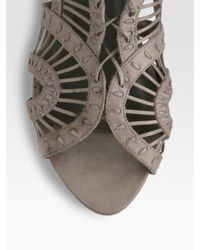 Joie | Gray Leo Cutout Lace-up Flat Sandals | Lyst