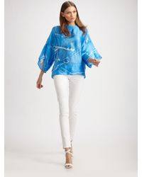 Ralph Lauren Black Label | Blue Vivan Silk Top | Lyst