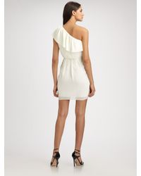 Shoshanna | White One Shoulder Ruffle Dress | Lyst
