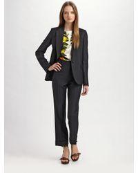 Stella McCartney | Black Pique Wool Trousers | Lyst