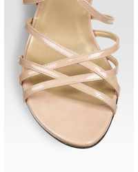 Stuart Weitzman - Natural Strappy Patent Leather Sandals - Lyst