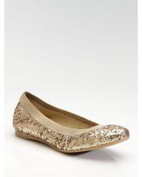 Stuart Weitzman | Metallic Lastikon Glitter Ballet Flats | Lyst