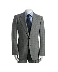Tom Ford - Gray Black Plaid Wool-mohair 2-button Suit with Flat Front Pants for Men - Lyst