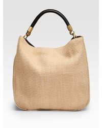 Saint Laurent | Natural Raffia Roady Large Hobo | Lyst