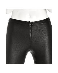 Alice + Olivia - Black Faux Leather Zip Front Leggings - Lyst