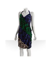BCBGMAXAZRIA | Black Evergreen Print Jersey Draped Cowl Neck Halter Dress | Lyst