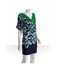 BCBGMAXAZRIA | Green Jersey Floral Printed One-shoulder Dress | Lyst