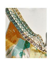 BCBGMAXAZRIA | Yellow Marigold Floral Satin Beaded Neck Dress | Lyst