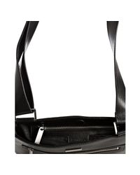 Calvin Klein | Black Leather Zip Front North/south Messenger Bag for Men | Lyst