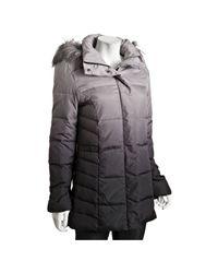 Calvin Klein | Gray Grey Ombré Faux Fur Trim Hooded Down Coat | Lyst