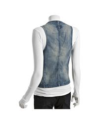 Current/Elliott - Blue Wishing Well Faded The Double Breasted Tux Vest - Lyst