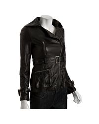 Dallin Chase - Black Leather Bach Belted Moto Jacket - Lyst