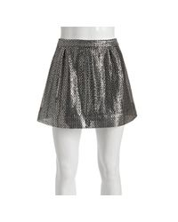 Dallin Chase - Silver Woven Metallic Francesco Mini Skirt - Lyst