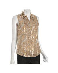 Elie Tahari | Gold Metallic Embroidered Chiffon Sleeveless Blouse | Lyst