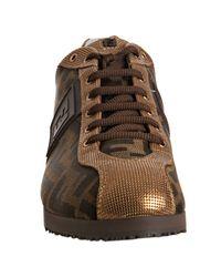 Fendi - Metallic Gold Mesh Zucca Canvas Sneakers - Lyst