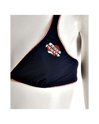 Gucci - Navy Blue Embroidered Heart Triangle Bikini - Lyst
