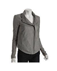 Helmut Lang | Gray Grey Lambskin Asymmetric Zip Front Jacket | Lyst