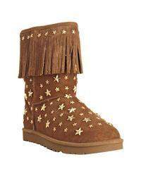 Jimmy Choo - Brown Ugg For Hazel Suede Studded Starlit Fringe Shearling Boots - Lyst