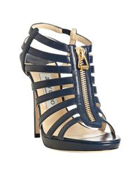 Jimmy Choo | Blue Navy Leather Glenys Platform Zip Sandals | Lyst