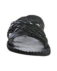 John Varvatos - Black Woven Leather Hurache Slide Sandals for Men - Lyst