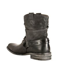 Mark Nason - Lounge Black Canvas and Leather Shots Slouched Boots for Men - Lyst