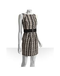 Max & Cleo | Black Houndstooth Woven Belted Dress | Lyst