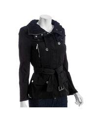 Moncler - Black Convertible Neck Jodelle Belted Jacket - Lyst