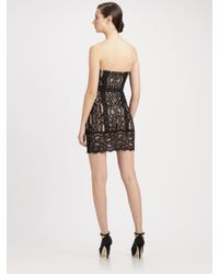 Nicole Miller | Black Floral Lace Strapless Dress | Lyst