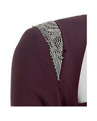 Nicole Miller | Purple Wine Matte Silk Chain Detail Dress | Lyst