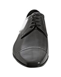 Prada | Black Asphalt Perforated Leather Cap-toe Oxfords for Men | Lyst