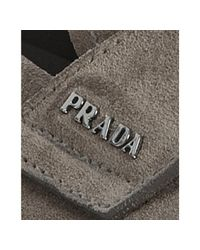 Prada - Natural Bamboo Suede Logo Penny Loafers for Men - Lyst