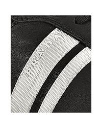 Prada - Sport Black Nappa Leather Double Stripe Sneakers for Men - Lyst