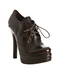 Prada | Dark Brown Stitched Leather Platform Oxford Booties | Lyst