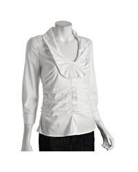 Prada   White Cotton Poplin Stretch Ruched Blouse   Lyst