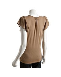 Rebecca Beeson - Brown Cocoa Cotton-modal Flutter Sleeve T-shirt - Lyst