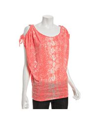 Rebecca Beeson | Pink Bright Coral Snake Burnout Jersey Tie Shoulder Top | Lyst