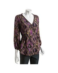 Shoshanna   Purple Midnight Ikat Print Silk V-neck Blouse   Lyst