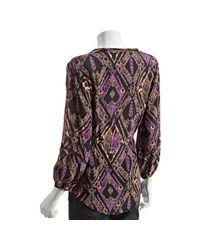 Shoshanna - Purple Midnight Ikat Print Silk V-neck Blouse - Lyst
