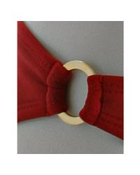Shoshanna - Red Solid Side Ring Bikini Bottoms - Lyst