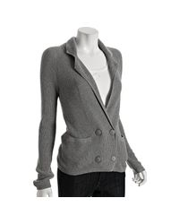Splendid - Gray Heather Grey Cotton-cashmere Thermal Double-breasted Jacket - Lyst