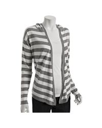 Splendid | Gray Heather Grey Stripe Cotton-cashmere Hooded Cardigan | Lyst