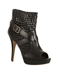 Steven by Steve Madden | Black Knotted Leather Pokerr Platform Booties | Lyst