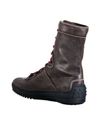 Tod's | Brown Leather Trekking Winter Gommino Boots for Men | Lyst