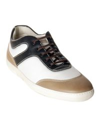 Tod's - Natural White and Black Nylon Leather Detail Competition Sneakers for Men - Lyst
